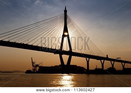 Silhouette Of Bridge At Twilight Time