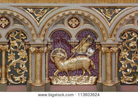 STITAR, CROATIA - AUGUST 27: St. Altar decoration on altar of Our Lady of Lourdes in the church of Saint Matthew in Stitar, Croatia on August 27, 2015