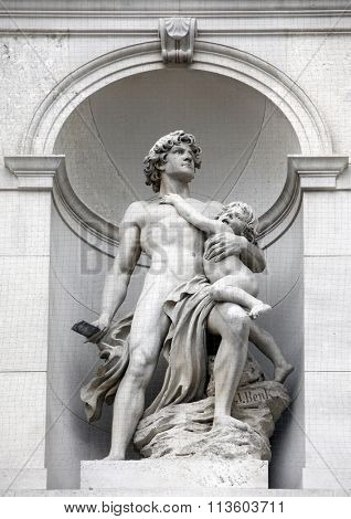 VIENNA, AUSTRIA - DECEMBER 10: Burgtheater, Vienna, statue shows an allegory of heroism. Vienna, Austria on December10, 2011.