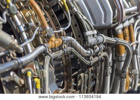 Airplane turbine mechanism close up