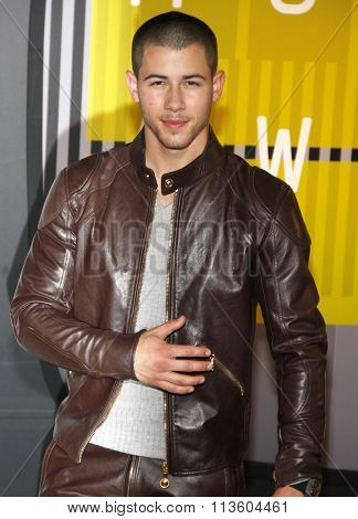 Nick Jonas at the 2015 MTV Video Music Awards held at the Microsoft Theatre in Los Angeles, USA on August 30, 2015.