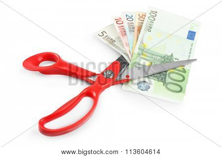 Scissors cut euro banknotes, isolated on white