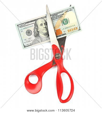 Scissors cut dollar banknote, isolated on white