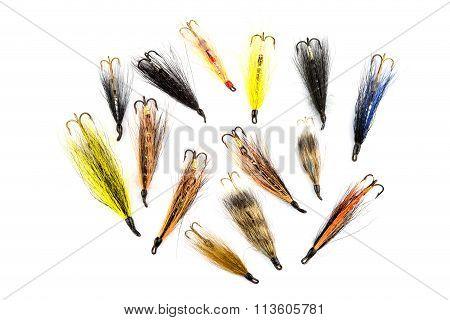 Waddington Type Salmon Fishing Flies On White
