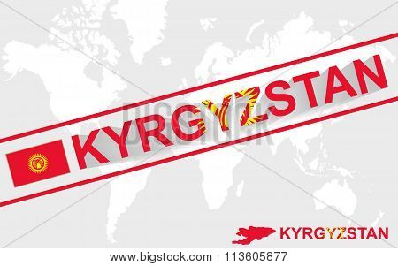 Kyrgyzstan Map Flag And Text Illustration