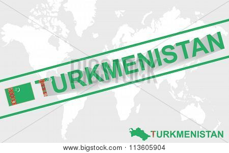 Turkmenistan Map Flag And Text Illustration