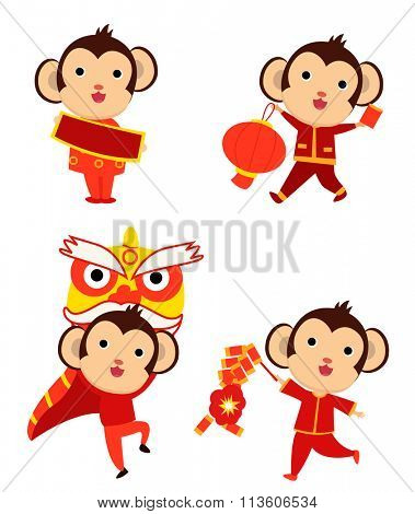 2016 Happy New Year greeting - the year of monkey