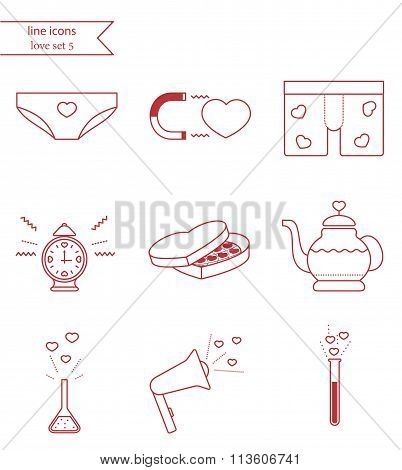 Vector line style icons. Love set 5