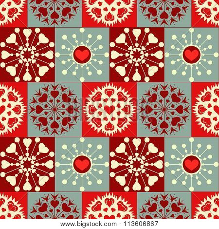 Christmas seamless checked pattern with heart snowflakes. New Year, Valentine texture. Red, gray, wh