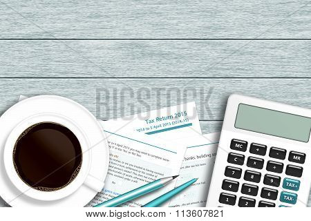 Uk Tax Form With Calculator, Coffee Lying On Wooden Desk