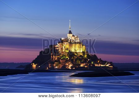 View Of Mont-saint-michel By Night