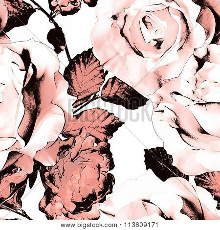 art vintage monochrome watercolor and graphic floral seamless pattern with white and dark pink roses and peonies isolated on white background
