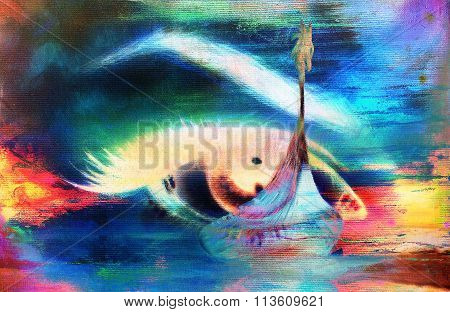 Viking Boat on the beach and woman eye , painting on canvas, Boat with wood dragon. And structure ba