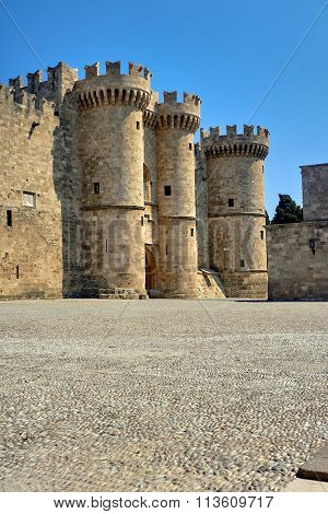 Towers and battlements of the Order of the Knights Castle in Rhodes