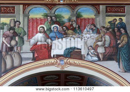 STITAR, CROATIA - AUGUST 27: The Wedding at Cana, fresco in the church of Saint Matthew in Stitar, Croatia on August 27, 2015