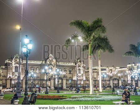 LIMA PERU - SEPTEMBER 17 2015 - Palacio de Gobierno (Government Palace) is a building originally erected in 1535.