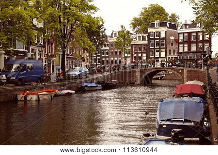 Amsterdam, The Netherlands - August 18, 2015: View On Prinsengracht From Spiegelgracht. Street Life,