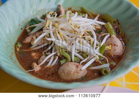 Boat Noodle, Thai Style Pork Noodle Soup.