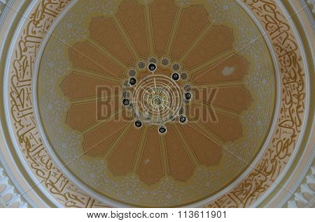 Inside main dome of Tuanku Munawir Royal Mosque in Negeri Sembilan