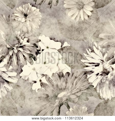 art vintage monochrome watercolor and graphic floral seamless pattern with white and grey asters, gerbera and phlox on dark background