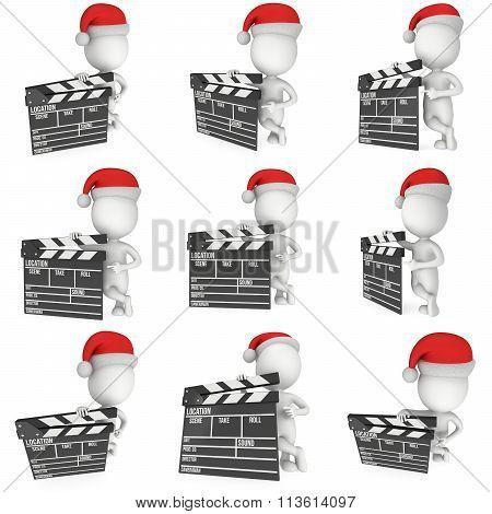Santa With Cinema Clapperboard Set.