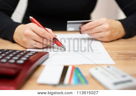 Woman Is Opening Bank Account And Checking  Credit Card Informations