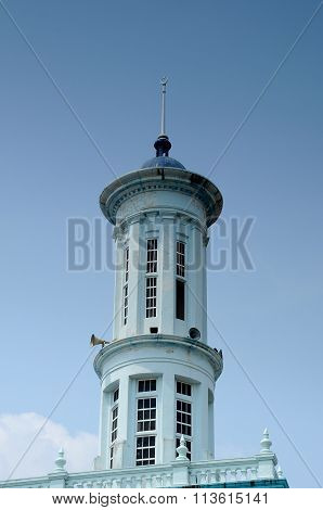 Minaret of the Sultan Ismail Mosque in Muar, Johor, Malaysia