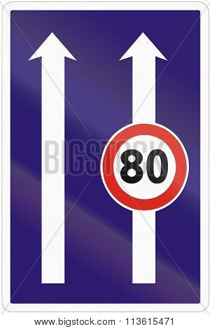 Road Sign Used In Slovakia - Use Of The Lanes With Speed Limits