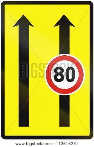 Road Sign Used In Slovakia - Use Of The Lanes With Speed Limits (temporary)