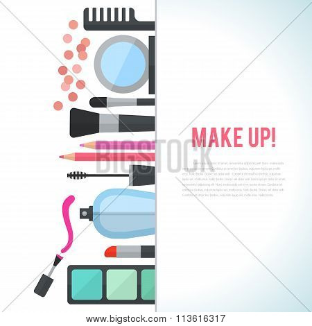 Make up concept vector flat illustration with cosmetics