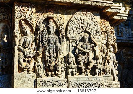 Artistic outer walls of Hoysaleswara temple at Halebidu, Karnataka captured on December 30th, 2015