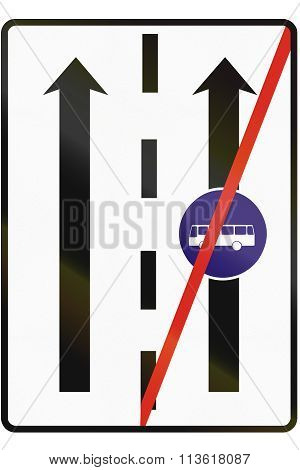 Road Sign Used In Slovakia - End Of The Lane For Buses