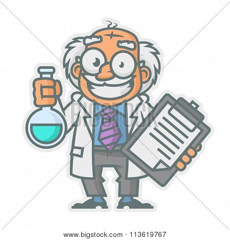 Professor holding test tube and notepad