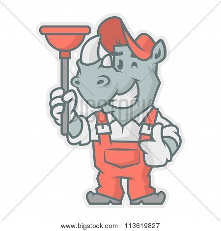 Rhinoceros character holding plunger