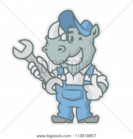 Rhinoceros character holding wrench