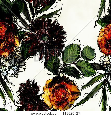 art vintage colorful watercolor and graphic floral seamless pattern with white, black, purple and orange gold roses, asters and phlox isolated on white background
