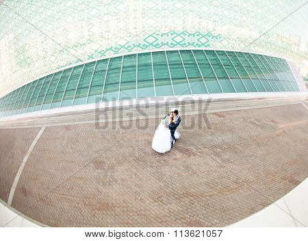 happy  bride and elegant groom in blue suit with bouquet on the background of modern building