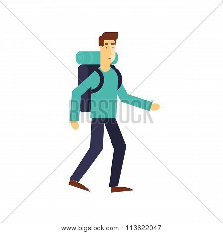 Full length of a hiker with backpack