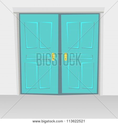 Interior Doors Hinged Bivalve, Swings Door. Colored With Golden Handle