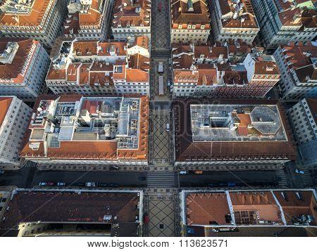 Aerial View of Augusta Street, Lisbon, Portugal