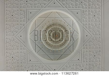 Ceiling detail at The Sultan Ismail Mosque in Muar, Johor, Malaysia