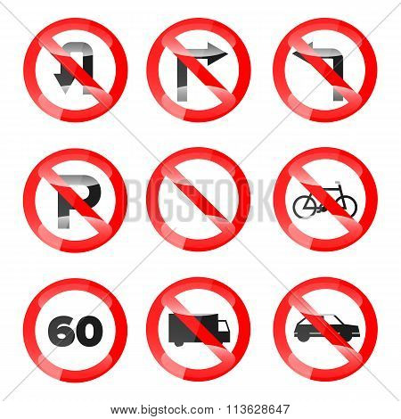 Glossy Vector Road Signs set 02