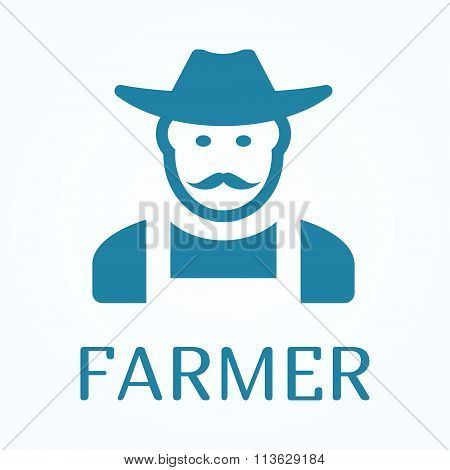 Icon Or Sign Of Farmer In Flat Style