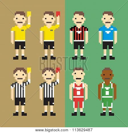 Referees, football players, basketball players - Isolated Vector Illustration