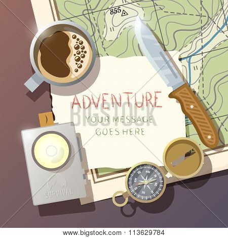 Vector camping poster