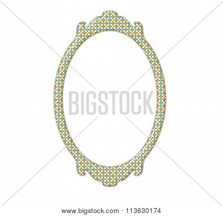 Vintage Pattern Mirror Frame With Rectangle Shape And Retro Pattern
