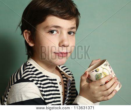 Boy Drink Milk From Floral Mug