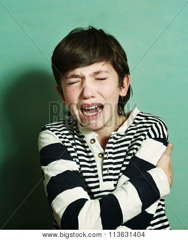 Boy Teen Crying Have Nervous Emotional Breakdown