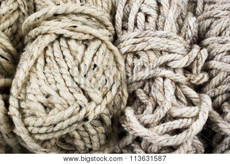 Neutral Colored Yarn Closeup