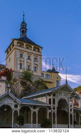 Market Colonnade And Castle Tower, Karlovy Vary, Czech Republic
